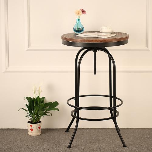 IKAYAA Table ronde bistro en bois de pin vernis et métal peint style industriel