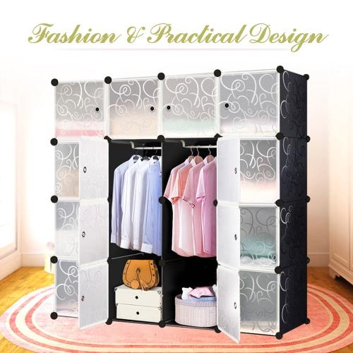 iKayaa Große Art und Weise Multi-Use Kleiderschrank Schrank Kabinett DIY Tuch Schuhe Speicher-Organisator
