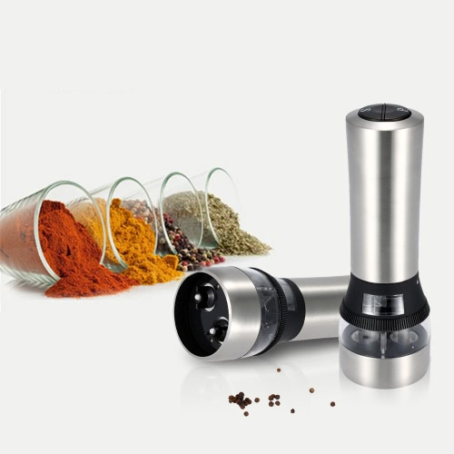 2 in 1 Stainless Steel Portable Electric Salt & Pepper Grinder Acrylic Muller Mill Kitchen Seasoning Grinding Tool