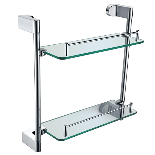 Homgeek High-quality Multi-use Chromed Stainless Steel Glass Bathroom Kitchen Storage Rack Double-layer Shelf Wall Mount Organizer Holder Household Hotel