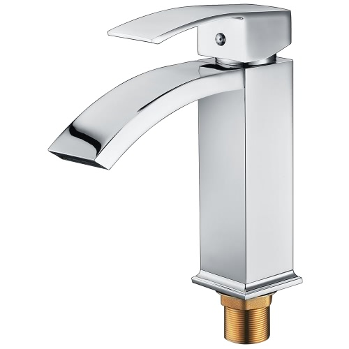 Homgeek Elegant Modern Style High Quality Single Handle Solid Brass Waterfall Bathroom Sink Faucet Square Spout Basin Mixer Tap Chrome Home Hotel