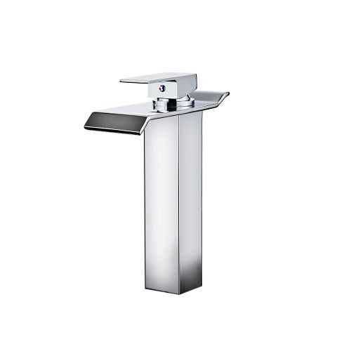 Homgeek One Single Handle Deck Mount Solid Brass Widespread Waterfall Bathroom Basin Faucet Chrome Finish Lavatory Bathroom Mixer Taps Curve Spout Home Hotel