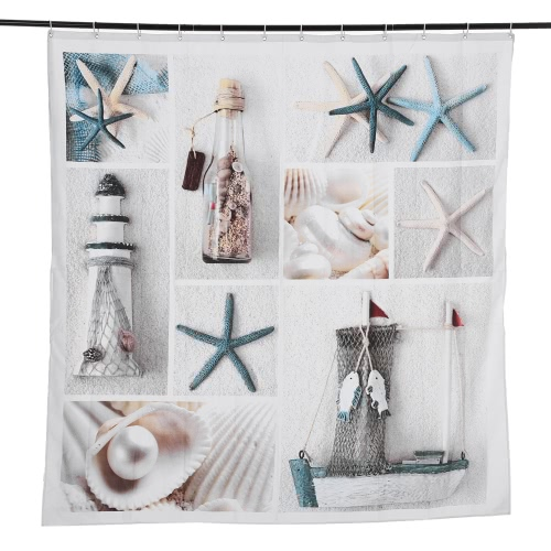 Anself 180*180cm Starfish Sea Life Pattern Shower Curtain Size 71