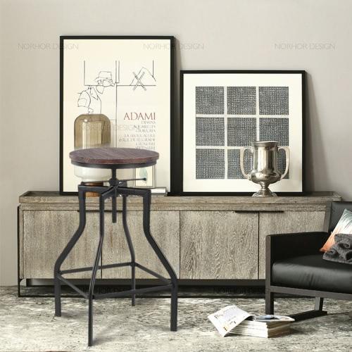 iKayaa Height Adjustable Swivel Bar Stool Kitchen Dining Chair