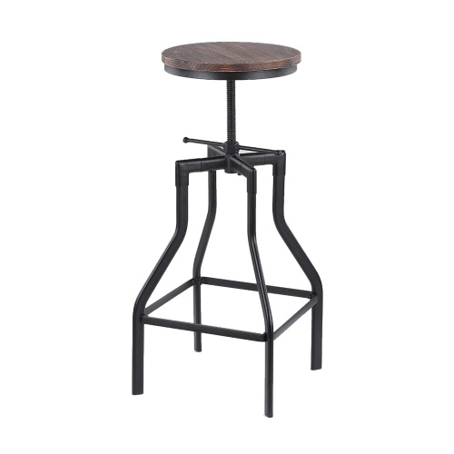 IKayaa Altura ajustável giratório Bar Stool Estilo Industrial Natural Pinewood Top + Metal Kitchen Dining Chair