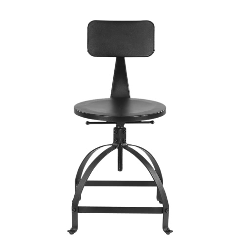 iKayaa Industrial Style Metal Bar Stool Ajustable Height Swivel Kitchen Dining Chair W/ Backrest