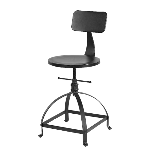 IKAYAA Chaise de bar noire de style industriel réglable en hauteur