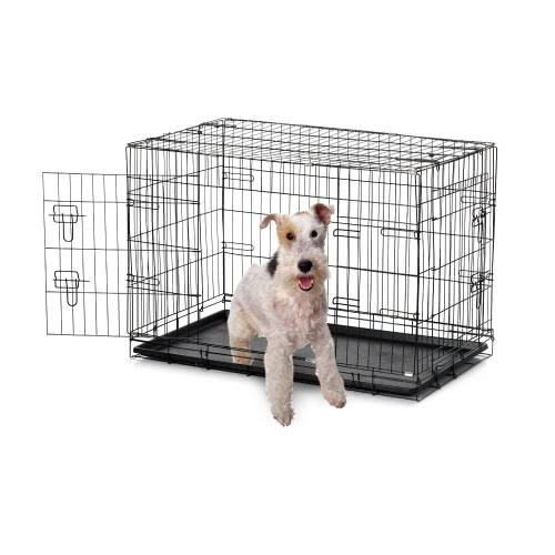 "IKayaa 36 ""Металлическая складная клетка для ящиков для собак W / Tray + 2 Doors Cat Rabbit Pet Kennel House для животных"