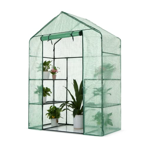 iKayaa Outdoor Garden 3 Layer Mini Walk In Greenhouse W/ 4 Shelves Reinforced PE Cover Metal Frame 143*73*195cm(L*W*H)