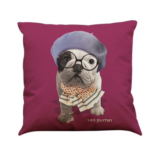 Simple Fashion Bulldog Pug Dog Animal Pillowcase Linen Throw Pillow Covers Decorative for Home Office Car Bed Sofa Gift