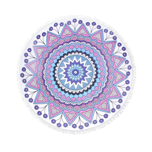 150cm Diameter Round Indian Mandala Beach Towel Wall Hanging Tapestry Mat Picnic Blanket Beach Shawl with Fringe Tassels for Holiday Travel