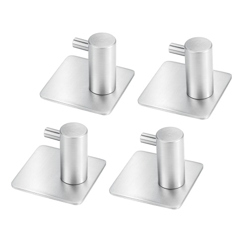 4-Pack Self Adhesive Towel Hook Wall Hooks 304 Stainless Steel Brushed Bathroom Kitchen Hanging Rack Organizer
