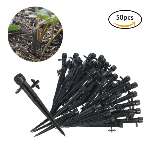 50pcs 360 Degree Adjustable  Drippers Water Flow Irrigation on Stake Emitter Drip System