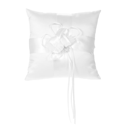 7 * 7 inches White Satin Flower Bowknot Wedding Ring Bearer Pillow Wedding Ceremony Decoration Supplies