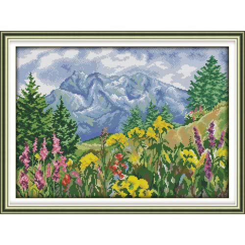 Decdeal DIY Handmade Needlework Cross Stitch Set 59 * 44cm Embroidery Kit 11CT Precise Printed Distant Mountain Cross-Stitching Home Decoration