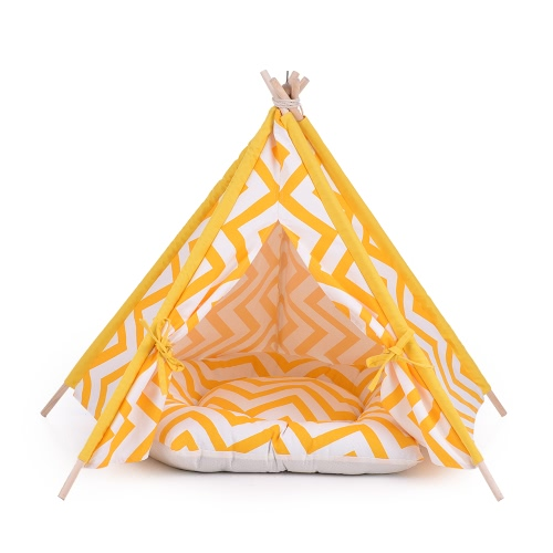 Cute Yellow Stripe Canvas Pet House Teepee Tent Cave Bed for Dogs Cats Guinea Pigs with Fixator Blackboard