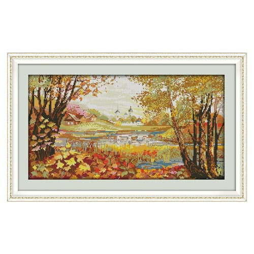 Decdeal DIY Handmade Needlework Cross Stitch Set 50 * 30cm Embroidery Kit 14CT Printed Cross-Stitching Home Decoration