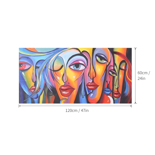 24 * 47 inches Unframed Waterproof Hand-Painted Oil Painting Abstract Woman's Face Canvas Picture Wall Art Decor for Living Room Office