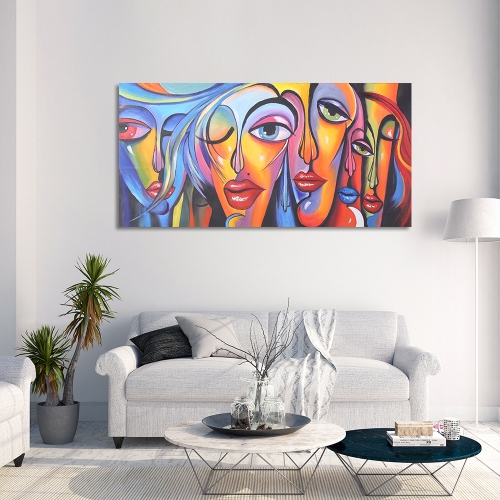 24 * 47 zoll Unframed Wasserdichte Handgemalte Ölgemälde Abstrakte frau Gesicht Leinwandbild Wandkunst Decor für Wohnzimmer Büro