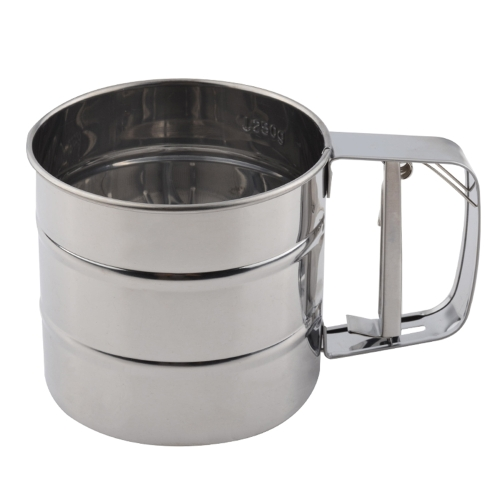 Acero inoxidable Mesh Flour Sifter Mecánico Hornear Icing Sugar Shaker Sieve Cup