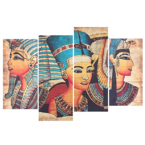 HD Imprimé 4-Panneau Sans Cadre Égyptienne Mur Peinture Motif Toile Peinture Mur Art Modulaire Photos Décor pour Maison Salon Chambre Bureau