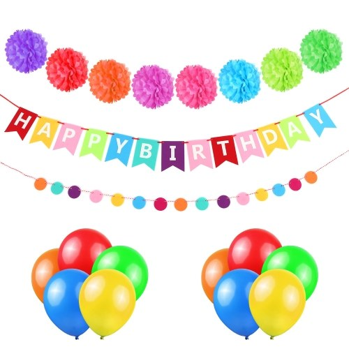 Esonmus Colorful Birthday Party Decoration Supplies Kit Happy Banner Tissue Pom Poms Garland