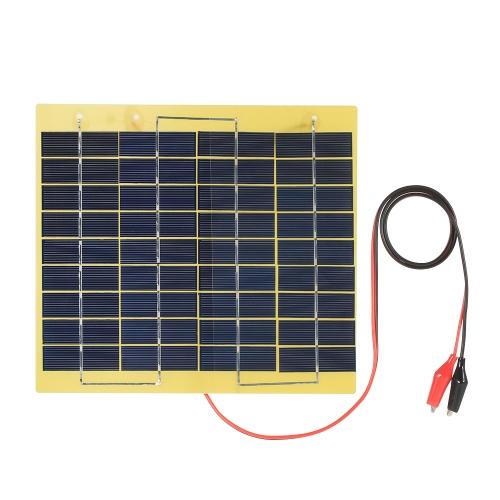 Painel solar de silício policristalino de 5W 18V com carregadores de jacaré para carregador portátil ao ar livre para bateria de armazenamento de 12V