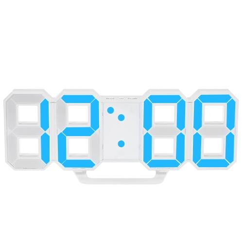 8-kształkowy duży cyfrowy LED budzik USB obsługiwane niebieskie / białe ś wietlenie 12H / 24H wyś wietlacz regulowany LED Luminancja drzemki funkcja Wall Clock Desk Alarm