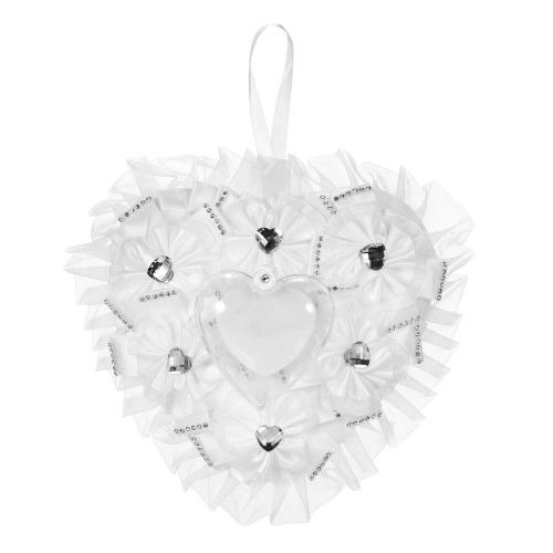 7 * 7 дюймов Белый атлас Сердце Обручальное кольцо Подушка Свадебная церемония Украшение Поставки