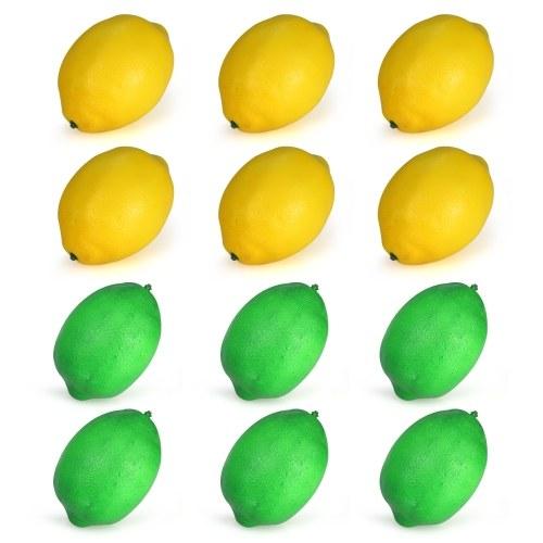 Пакет из 12 реалистичных фальшивых зеленых + желтых лимонов Искусственный жирный набор фруктов Набор кухонных украшений Фото реквизит