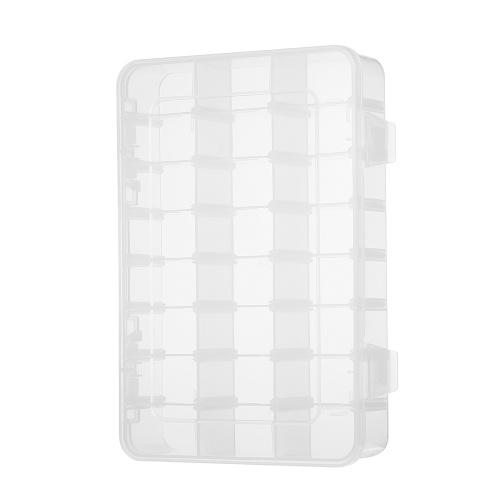 Пластиковые ювелирные украшения Организатор Box 24 Сетки Clear Storage Прозрачная коробка контейнера с регулируемыми разделителями
