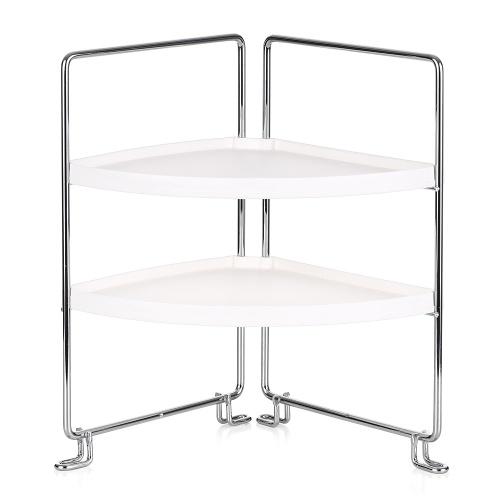 2-Tier Corner Freestanding Stackable Organizer Shelf
