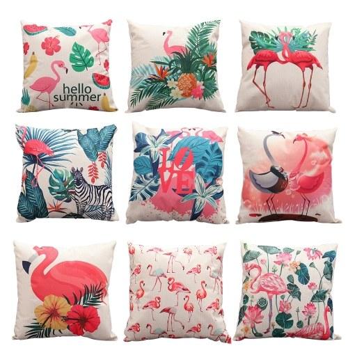 Linen Flamingo Cushion Cover
