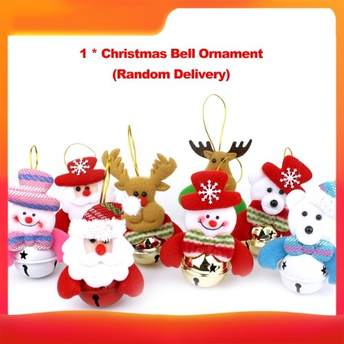 Campanas de muñecas de Navidad Adornos para árboles de Navidad Decoraciones colgantes colgantes Campanas Papá Noel / Muñeco de nieve / Oso / Alce (Estilo aleatorio)