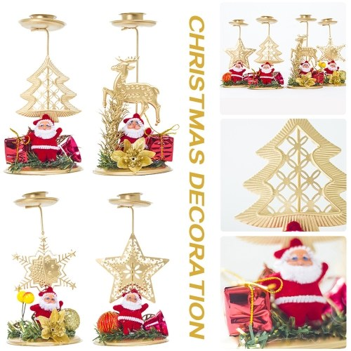 Christmas Iron Candlestick  4 PCS Christmas New Creative Candlestick Christmas Decoration Exquisite Desktop Decoration Family Christmas Decoration