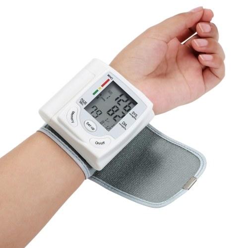 Pantalla LCD Monitor de presión arterial Medidor de pulso de muñeca Pulsómetro digital automático Esfigmomanómetro Herramienta de diagnóstico familiar