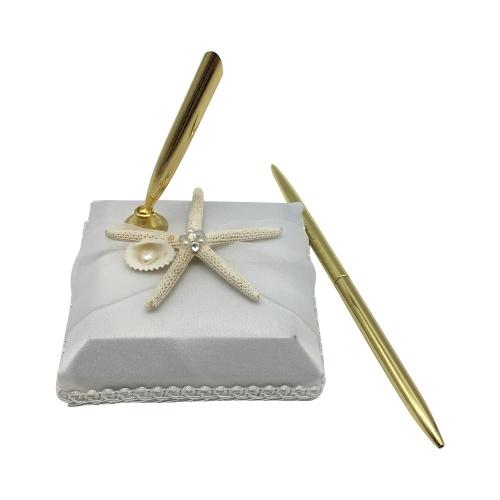 """Bolígrafo de firma de boda con titular de patrón """"Estrella de mar"""" Suministros de decoración para libro de visitas"""