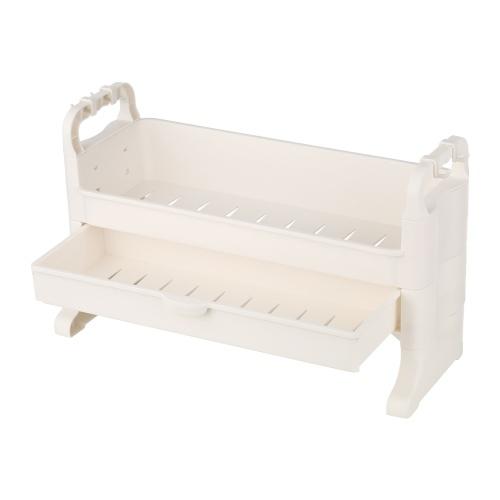 Estante de almacenamiento en la encimera con cajones y ganchos Organizador independiente de soporte de especias de cocina para baño Dormitorio Sala de estar (marfil)