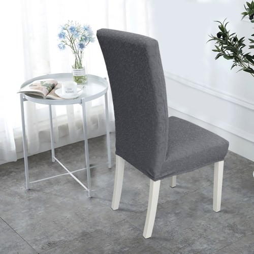 Dining Chair Slipcover, High Stretch Removable Chair Cover Washable Chair Seat Protector Cover, Jacquard Pattern, Chair Cover Slipcover for Home Party Hotel Wedding Ceremony, Dark grey