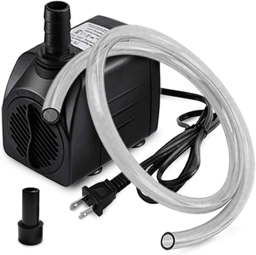 160GPH Submersible Pump (600L/H, 10W) with 3.3 ft Tubing for Aquariums Fish Tank Pond Fountain Statuary Hydroponics Water Feature Indoor Fountains