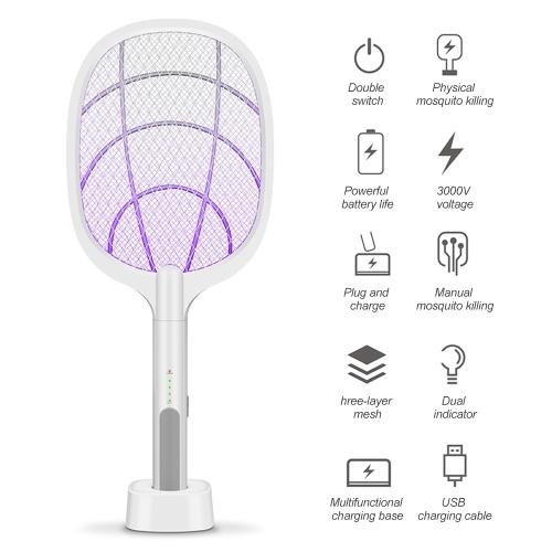 Raquette électrique Bug Zapper, tueur de moustiques, tapette à tapette pour mouche des fruits, contrôle électronique antiparasitaire électronique rechargeable deux-en-un, lampe d'éclairage à LED, maille de sécurité à 3 couches sécuritaires au toucher