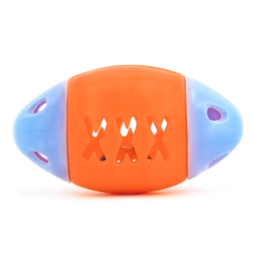 Patrón de forma de pez ahuecado ovalado Mascota masticar Bola de sonido para mascotas