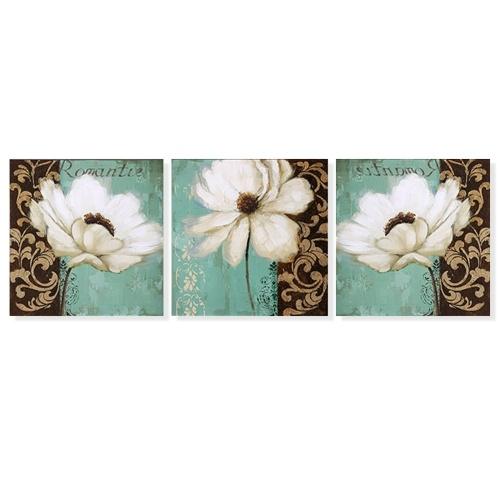 3PCS Blumenwanddekore mit zusammengebautem Rahmen
