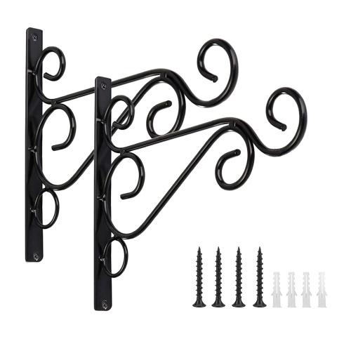 Soporte de gancho para colgar al aire libre negro de 2 piezas