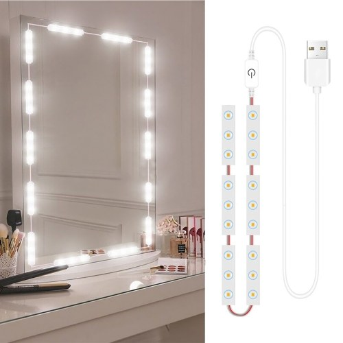 2 PCS LED Makeup Mirror Lights Dimmable Touch Control Vanity Mirror Lights Bathroom Mirror Light with USB Cable LED Strip Lights Dressing Mirror
