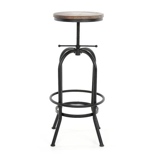 iKayaa Tabouret de bar style industriel assise en bois