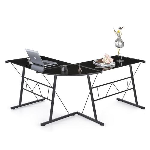iKayaa L-shaped Corner Computer Desk PC Laptop Table