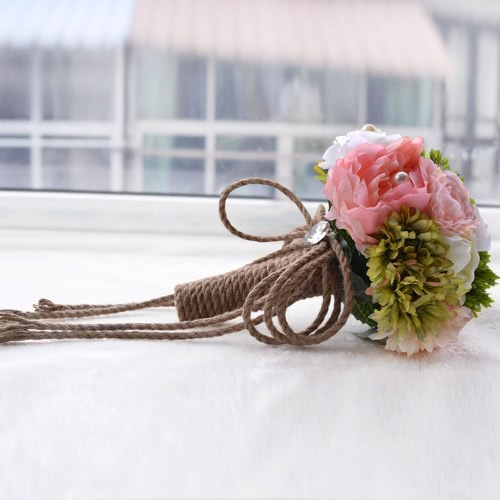 Vintage Neverland Valley Ranch Hemp Rope Handcraft Bridal Flower Wedding Bouquet Flowers Bridal Exquisite Bouquet Bridesmaid Hold Flower