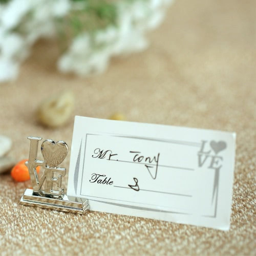 Détenteurs 20Pcs AMOUR Anglais Lettres Lieu Carte Alloy Tableau Mark Cartes de banquet de mariage Décoration