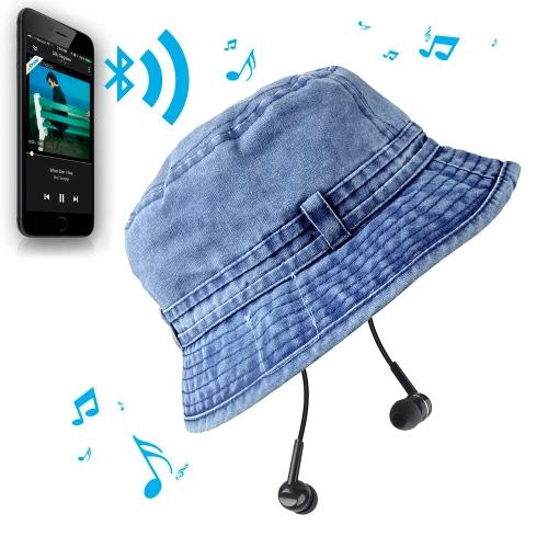 New Fashion Summer Bluetooth Music Hat Wireless Hands-Free Smart Cap Headphone Headset Speaker Mic CVC Washed Canvas Bluetooth Sun Hats for Man